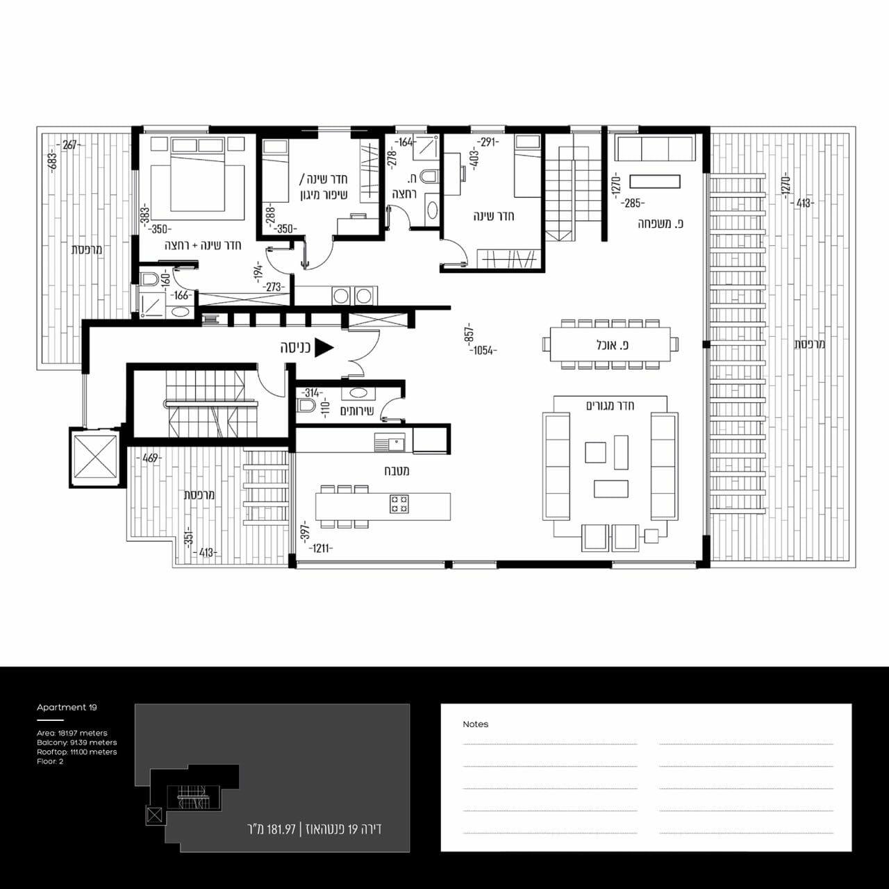 Penthouse  4,5 pièces de 182 m2 avec une terrasse 200 m2