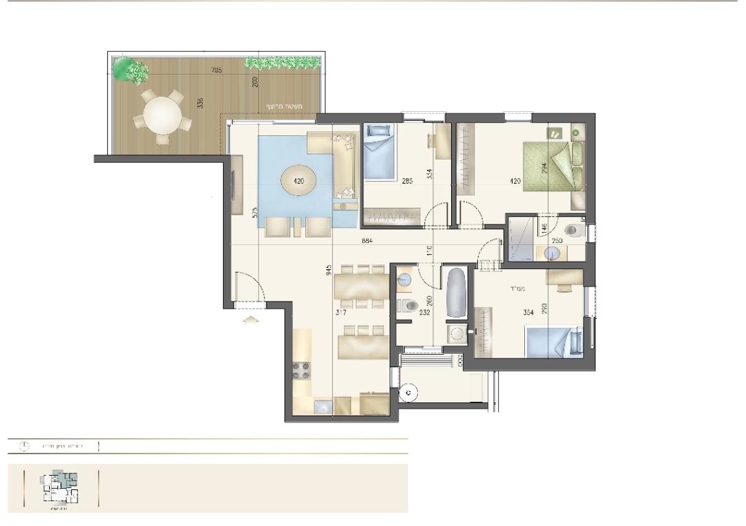 4 pièces de 99 m2 avec une terrasse de 19 m2
